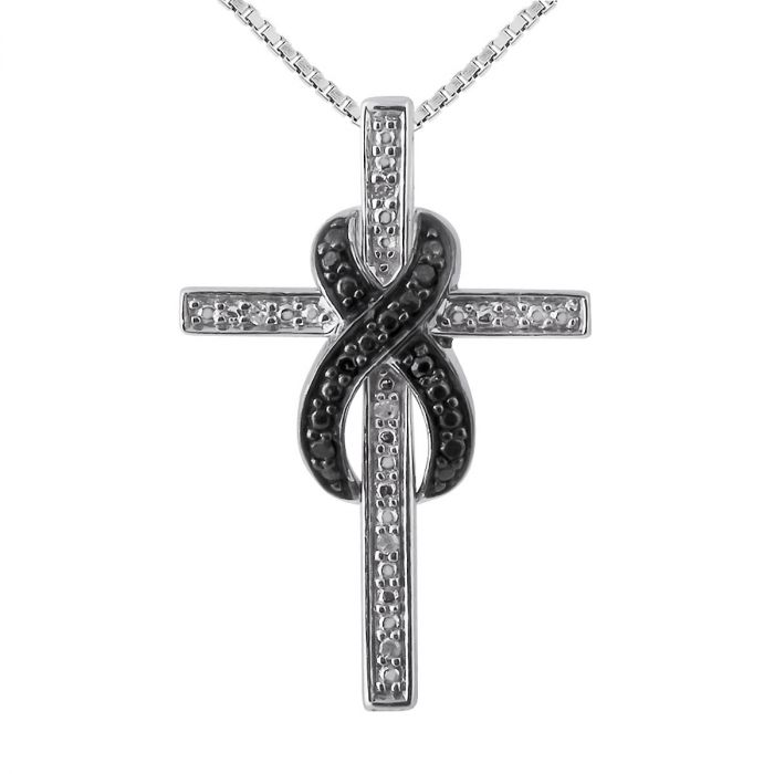 """Black and White Diamond Accent Infinity Cross Pendant with 18"""" Chain"""