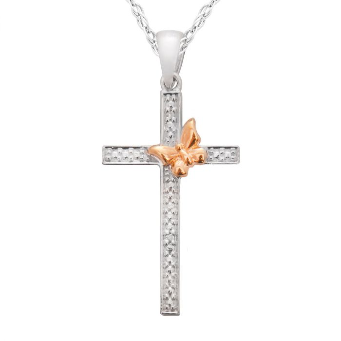 """Diamond Accent Cross/Butterfly Pendant with 18"""" Chain"""