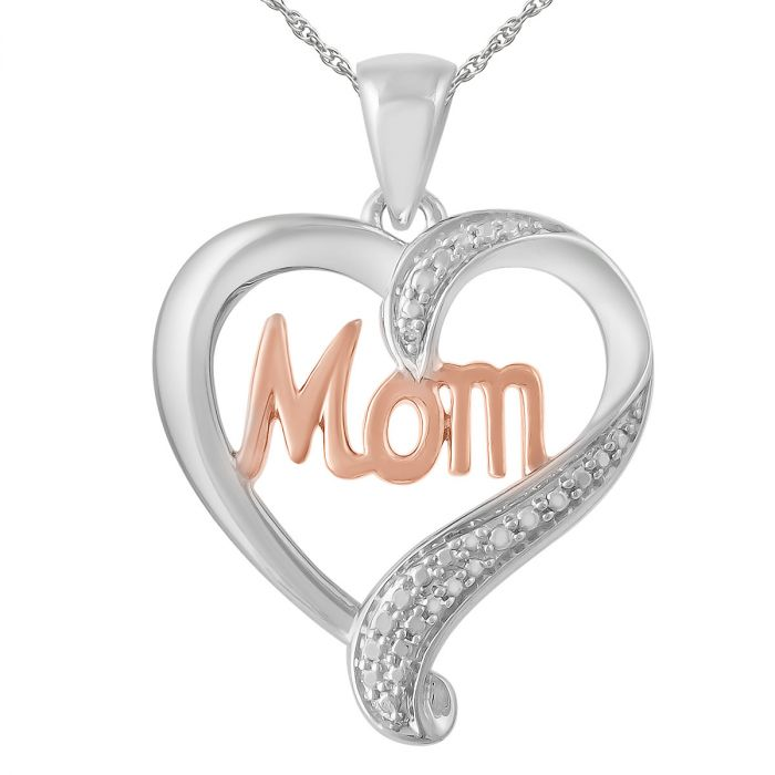 """Mom Diamond Accent Heart Pendant with 18"""" Chain"""