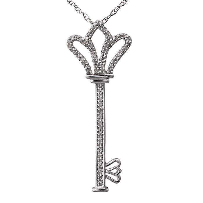 """Sterling Silver Royal Key Pendant with 18"""" Chain"""
