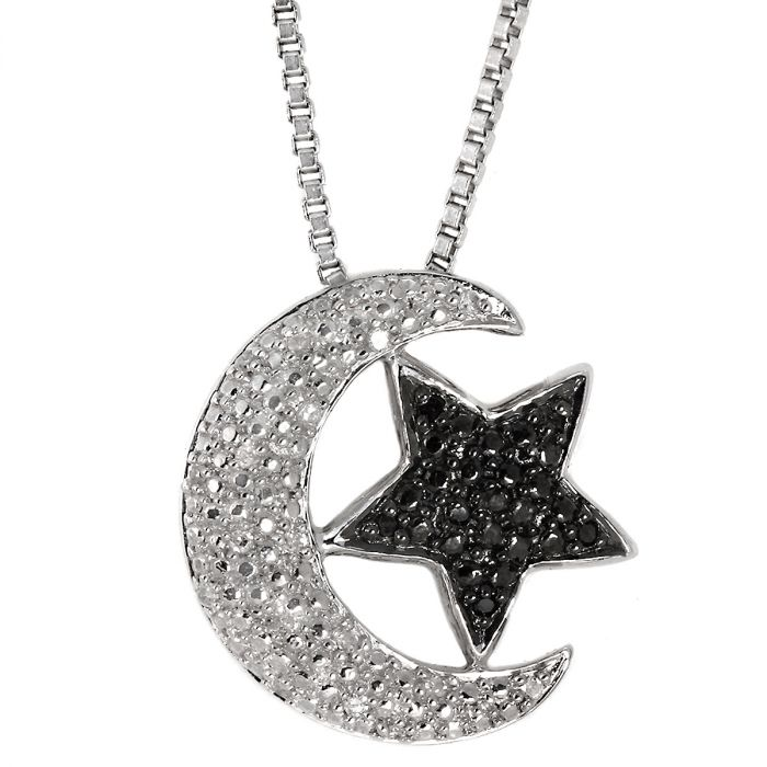 """Black and White Diamond Accent Moon/Star Pendant with 18"""" Chain"""