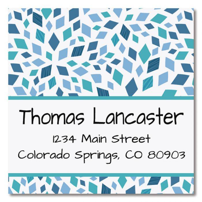 Mosaic Blue Large Square Address Labels