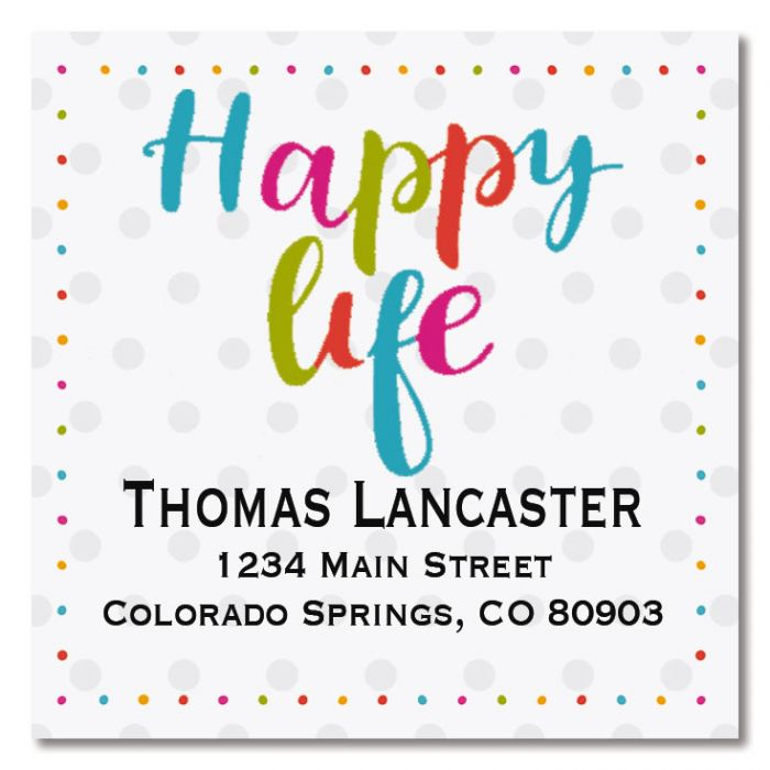 Happy Life Large Square Address Labels
