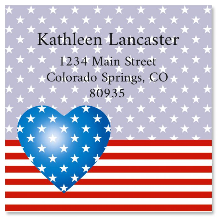 Patriotic Heart Large Square Address Labels
