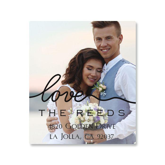 Love Black Caption Select Photo Personalized Address Labels