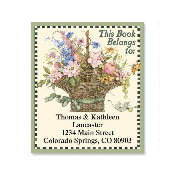 Floral Basket Bookplate Labels