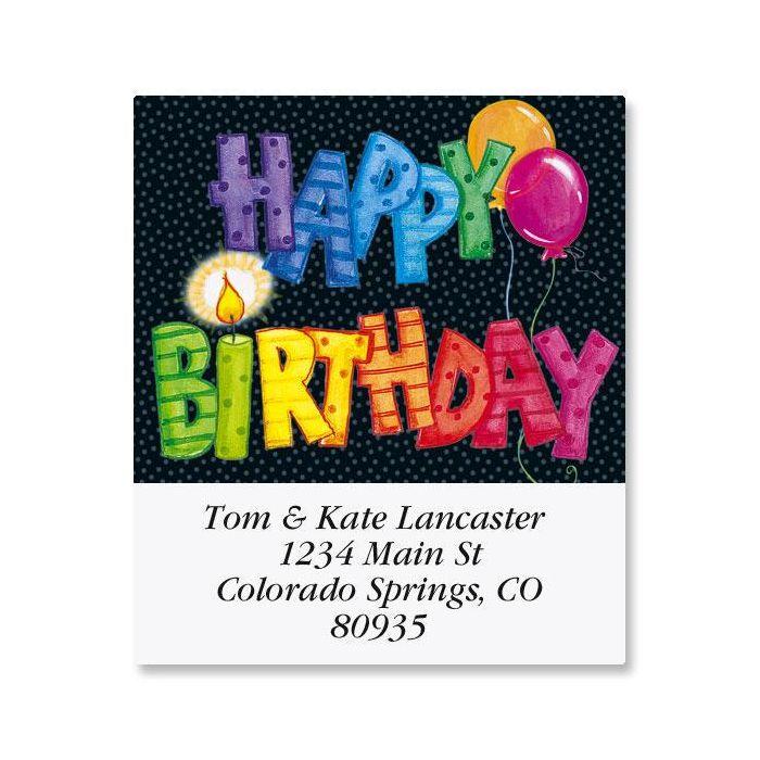 Striped Birthday Select Address Labels