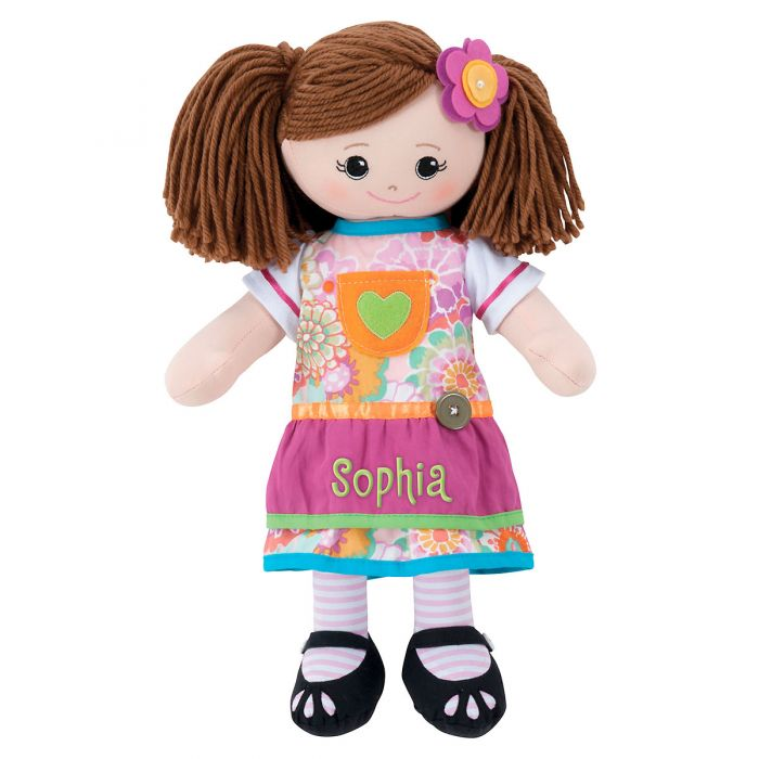 Personalized Brunette Rag Doll with Apron Dress