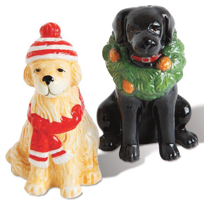 Winter Dog Salt & Pepper Shakers