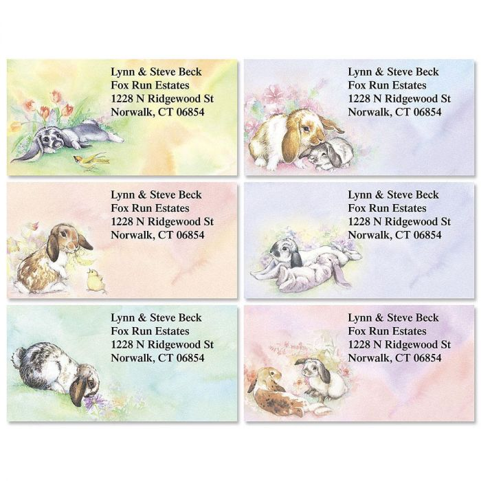 Bunnies Border Address Labels  (6 Designs)