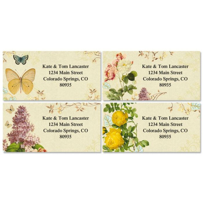Natures Flora Border Address Labels  (4 designs)