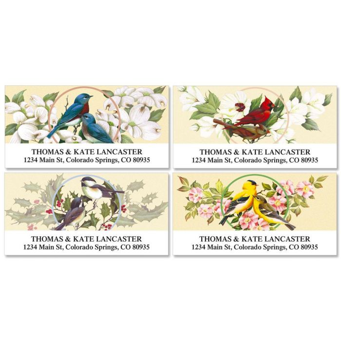 Birds and Blossoms Address Labels  (4 designs)