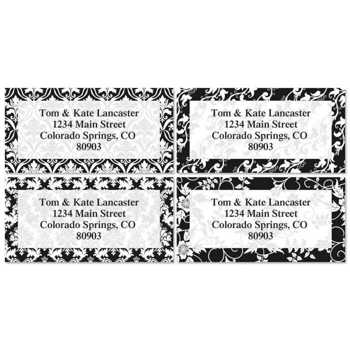 Elegant in Black Border Address Labels  (4 Designs)