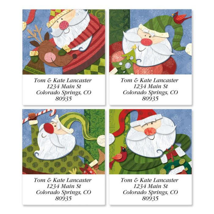 Santa Flurries Address Labels  (4 designs)