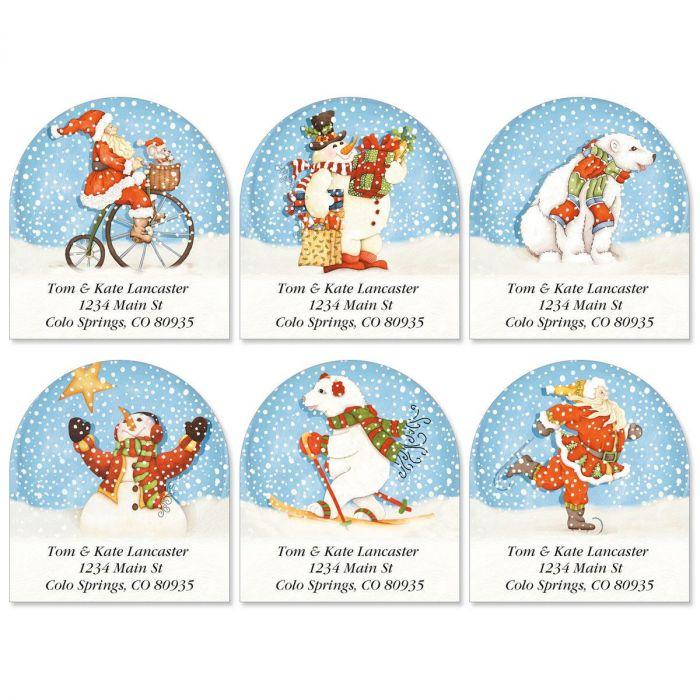 Snowabunga Diecut Address Labels  (6 designs)
