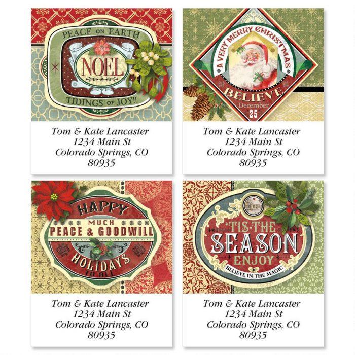 Holiday Ephemera Select Address Labels  (4 designs)