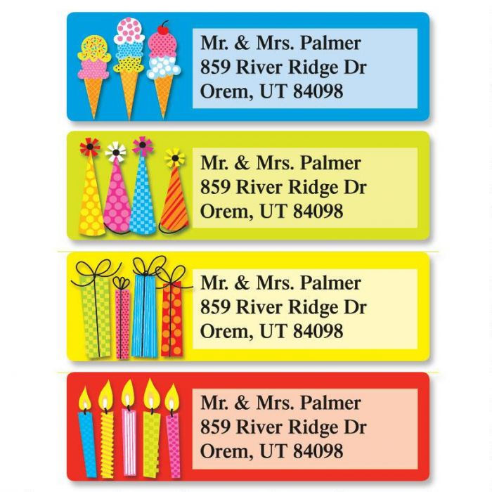 Bold Birthday Classic Address Labels  (4 Designs)
