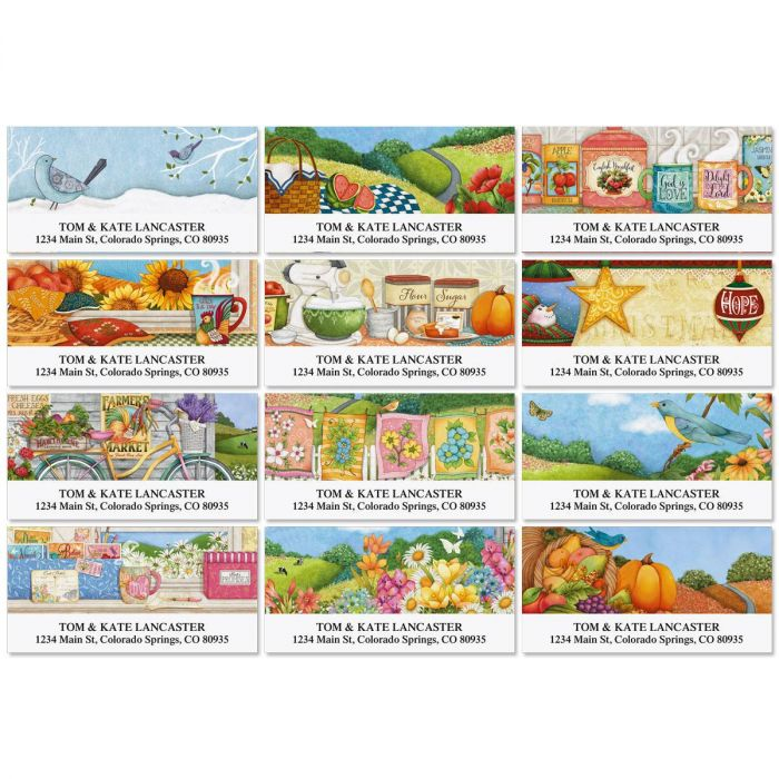 Country Pleasures Deluxe Address Labels  (12 Designs)