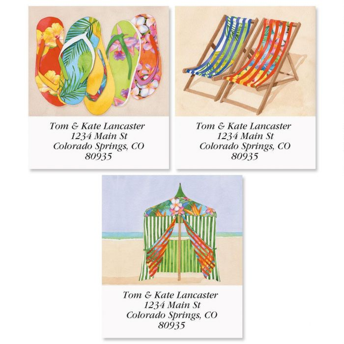 Tropical Flip-Flops Select Address Labels  (3 Designs)