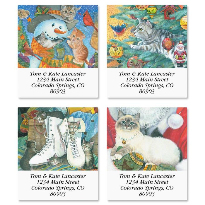 Christmas Cats Select Address Labels  (4 Designs)