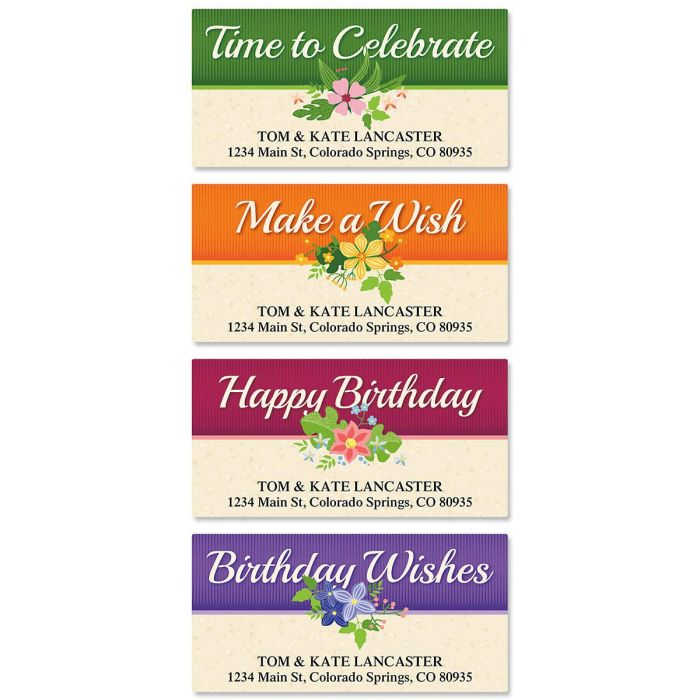 Framed Birthday Deluxe Address Labels  (4 Designs)