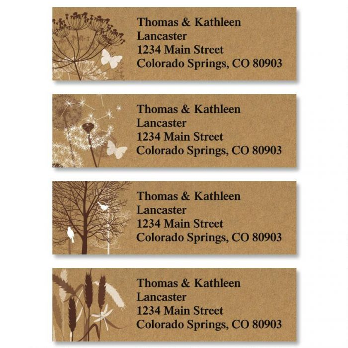 Kraft Foliage Classic Address Labels  (4 Designs)