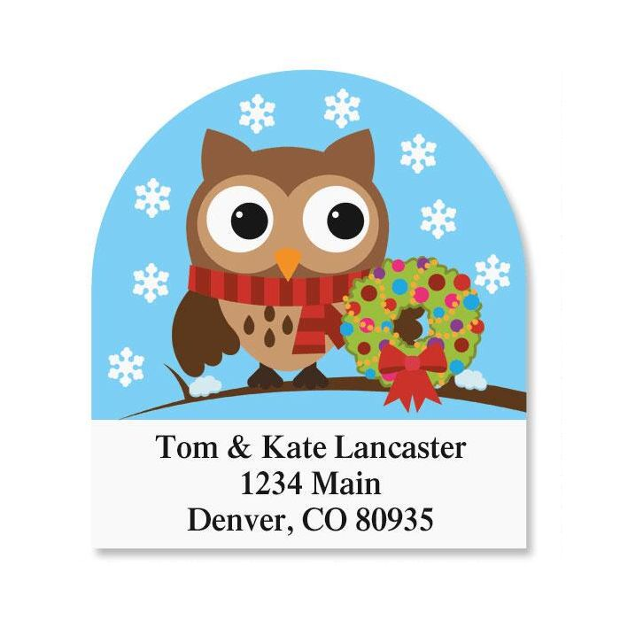 Holiday Hoot Diecut Address Labels  (6 Designs)