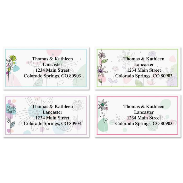 Sketched Flowers Border Address Labels  (4 Designs)