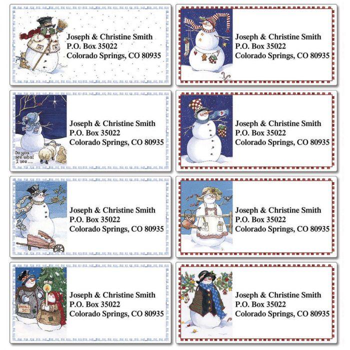 Sandi's Snowmen Collection Border Address Labels  (8 designs)