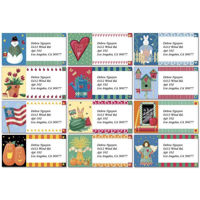Vicky's Year Round Border Address Labels  (12 designs)