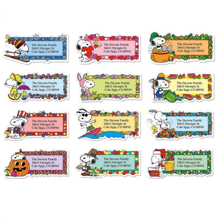 Snoopy™ Seasons of Fun Diecut Address Labels  (12 Designs)