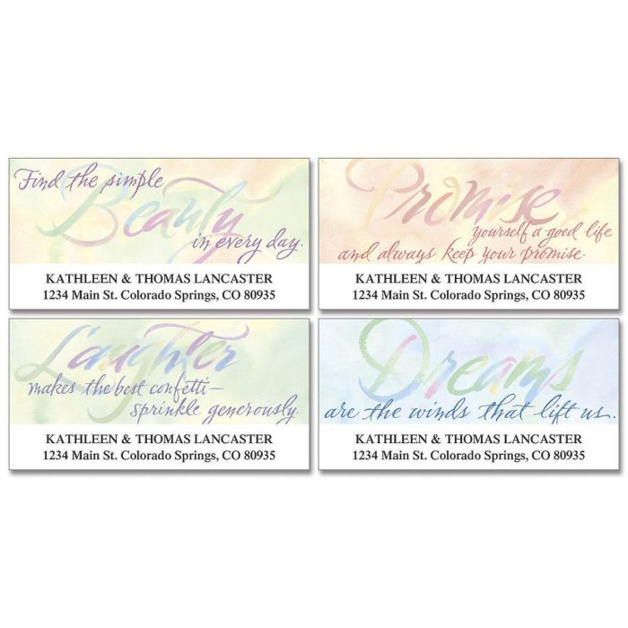 Watercolor Thoughts Deluxe Address Labels  (4 designs)
