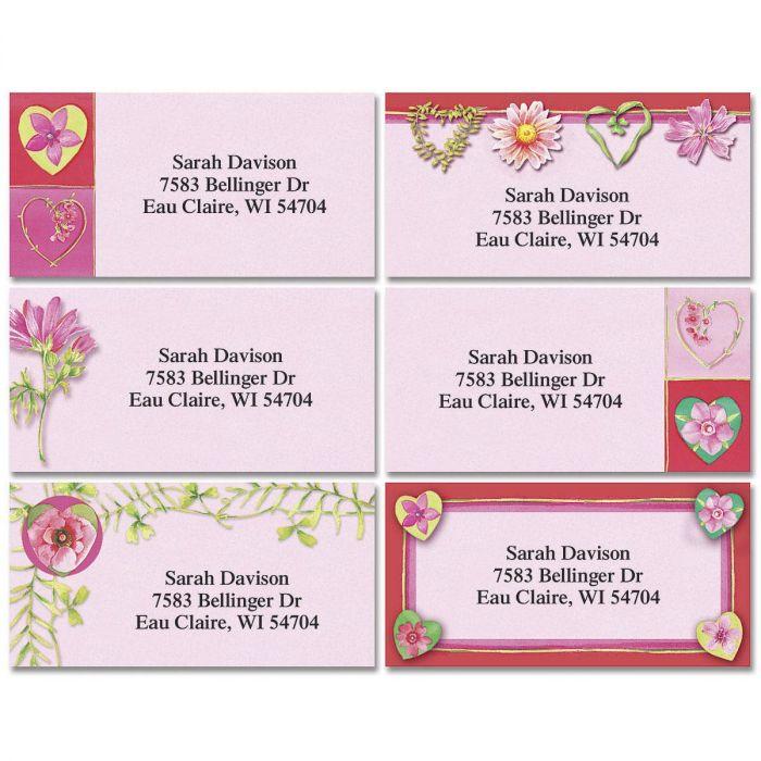 Hearts & Vines Border Address Labels  (6 Designs)