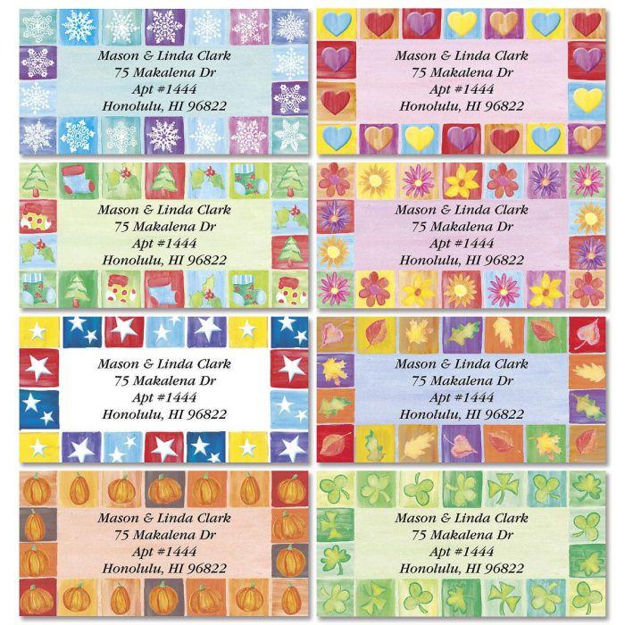Parade of Seasons Border Address Labels  (8 Designs)