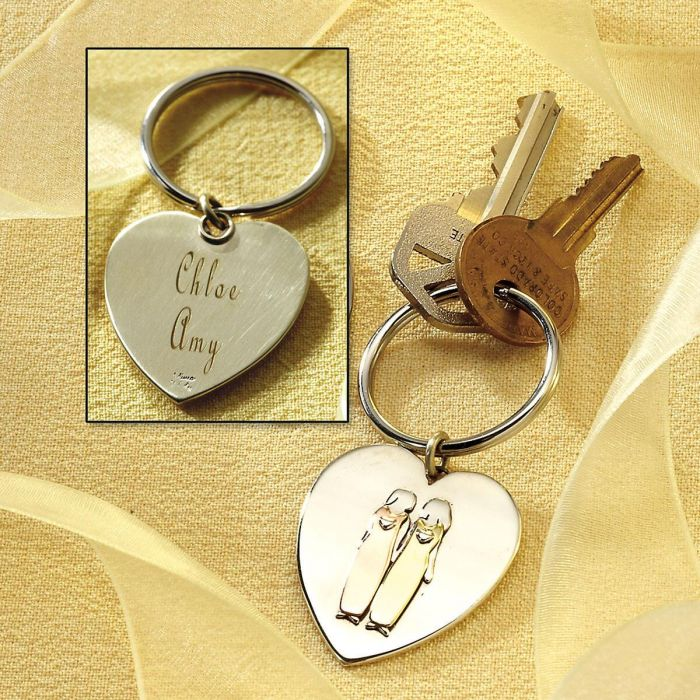 Two Sisters Heart Key Chain