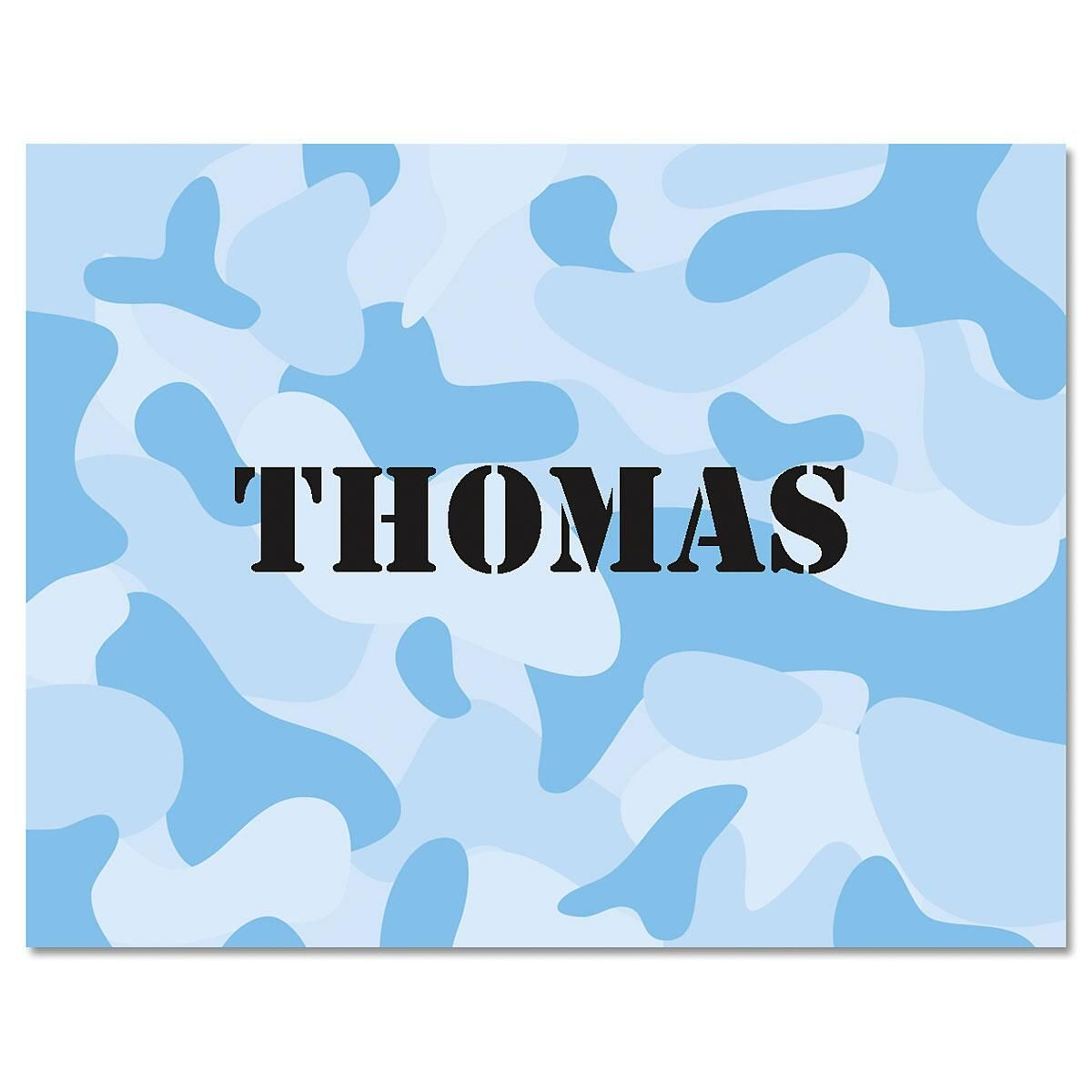 Blue Camouflage Personalized Note Cards