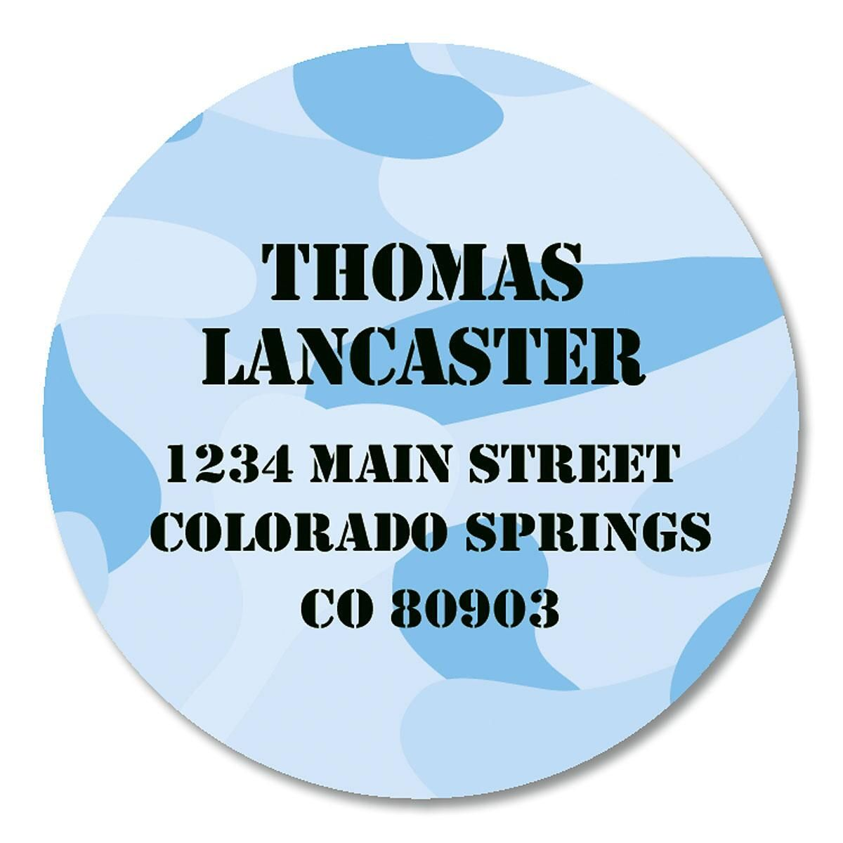 Blue Camo Round Address Labels