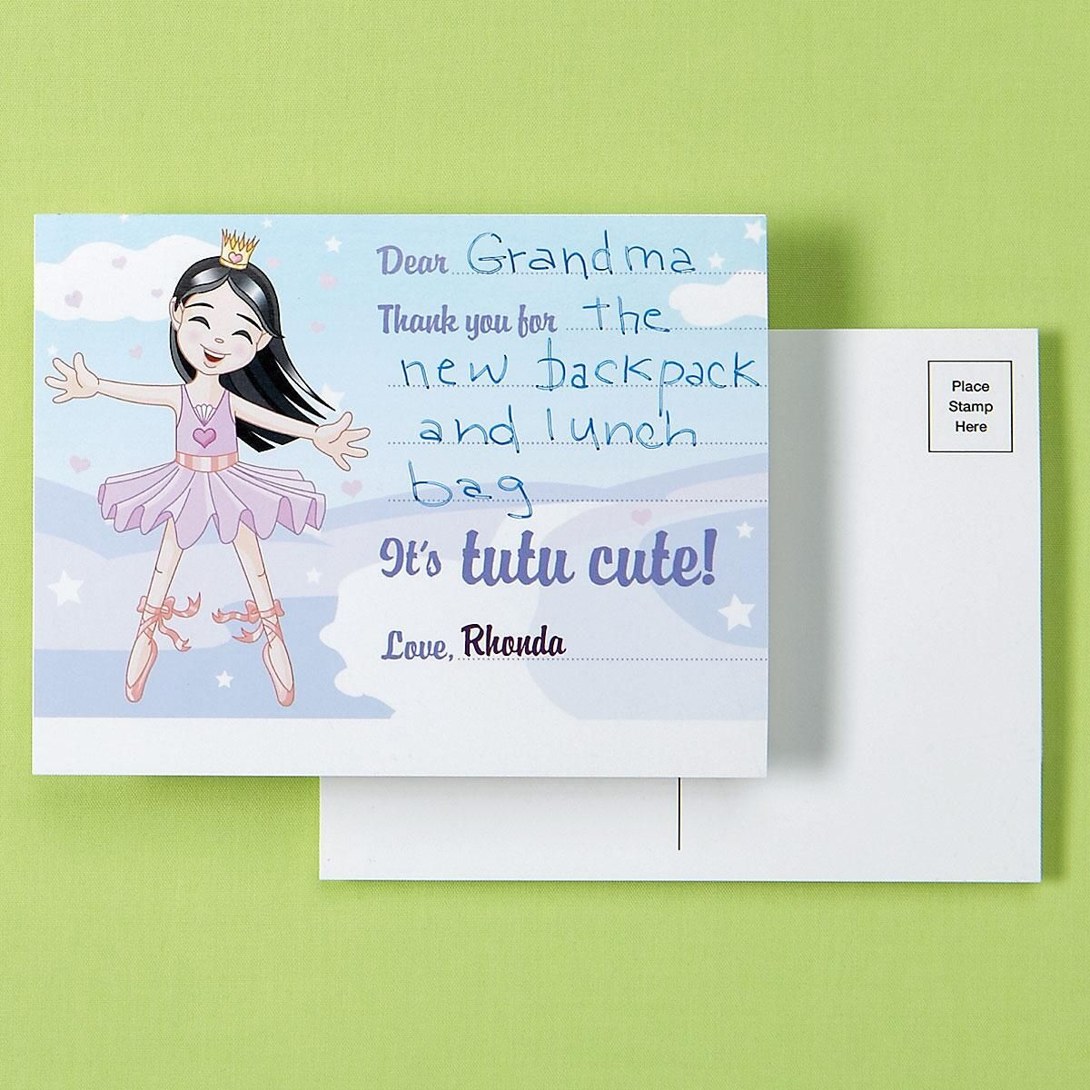 Kids Ballerina Personalized Thank You Postcards