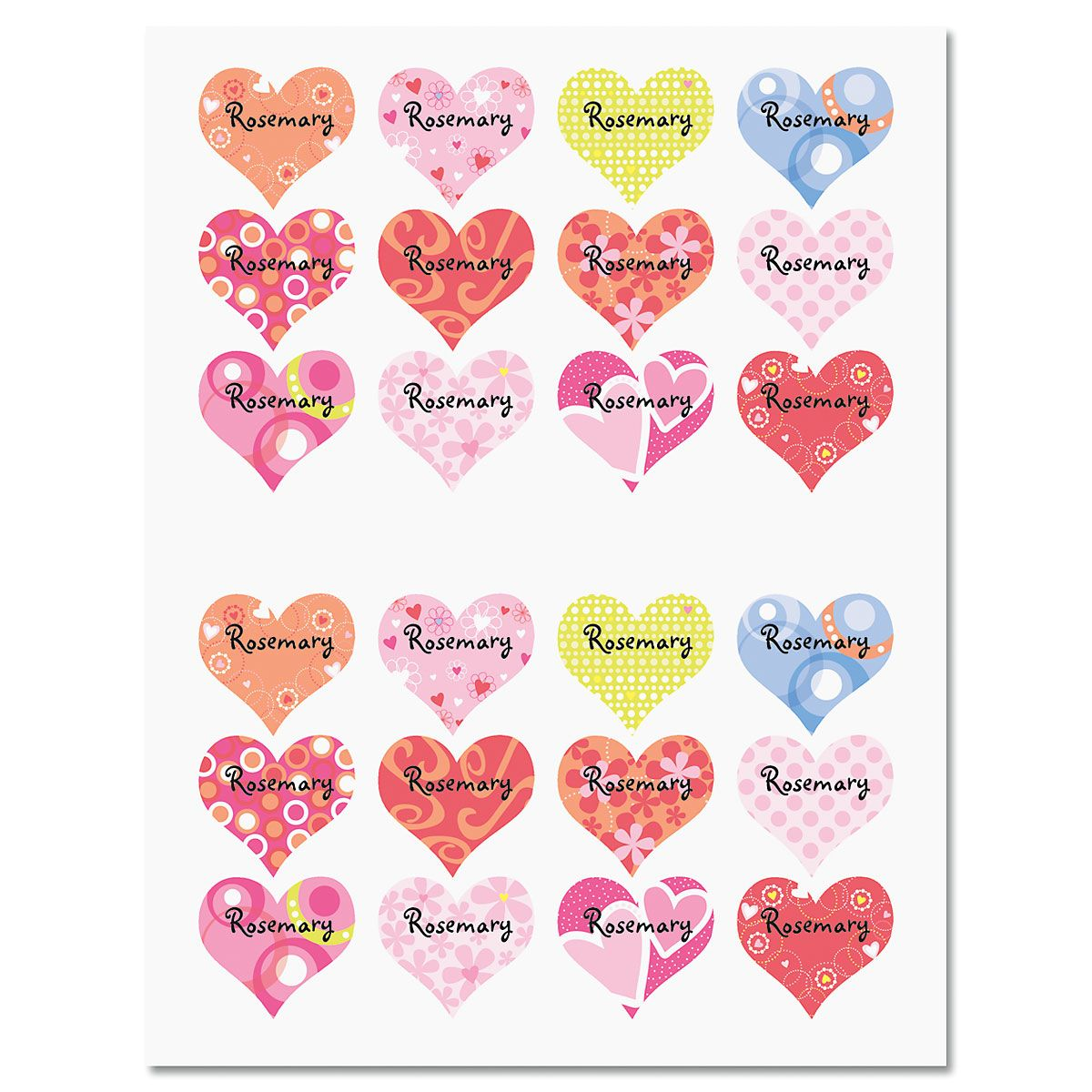 Personalized Variety Heart Stickers