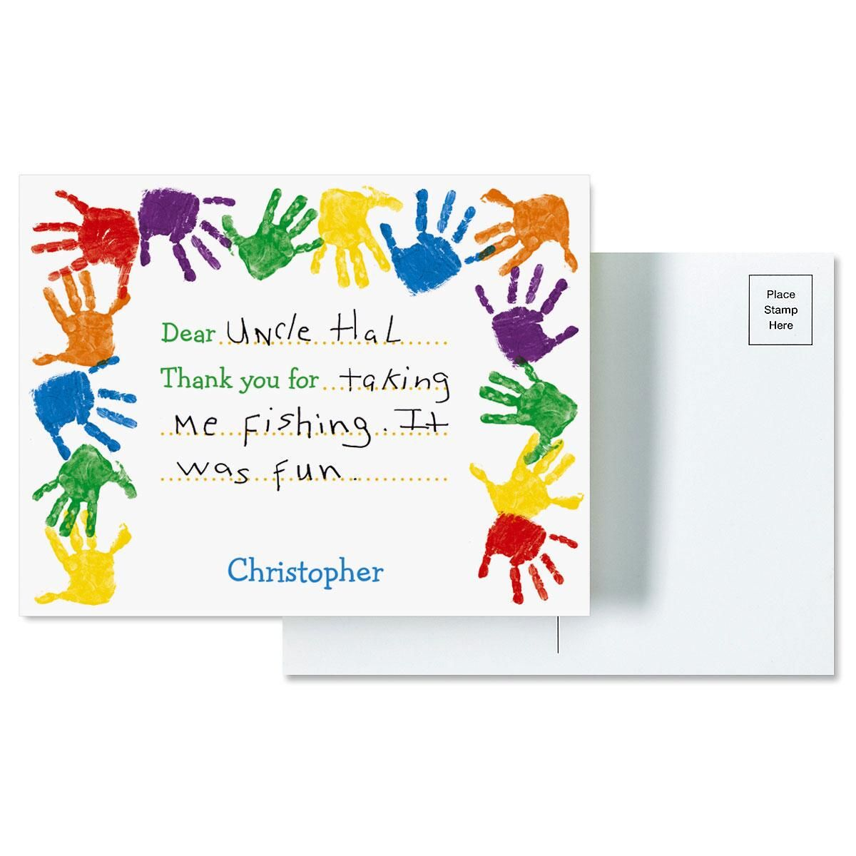 Kids Handprints Thank You Postcards