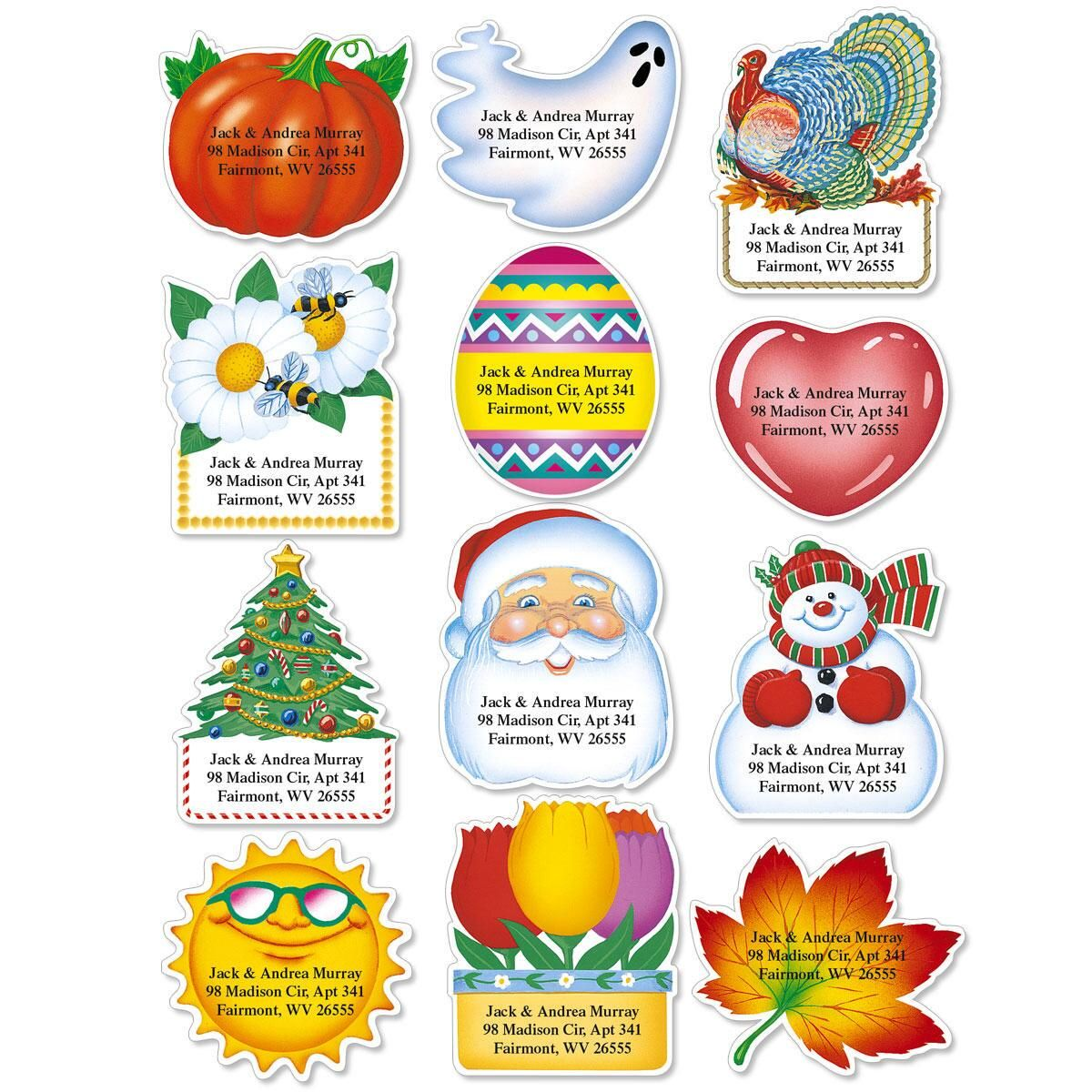 Holidays Year-Round Diecut Address Labels (12 Designs)