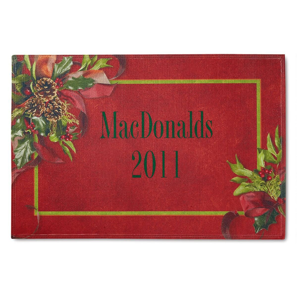Holly Ribbons Personalized Welcome Doormat