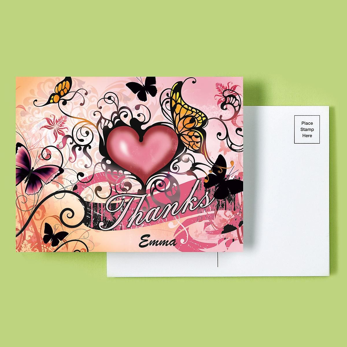Hearts and Butterflies Thank You Postcards