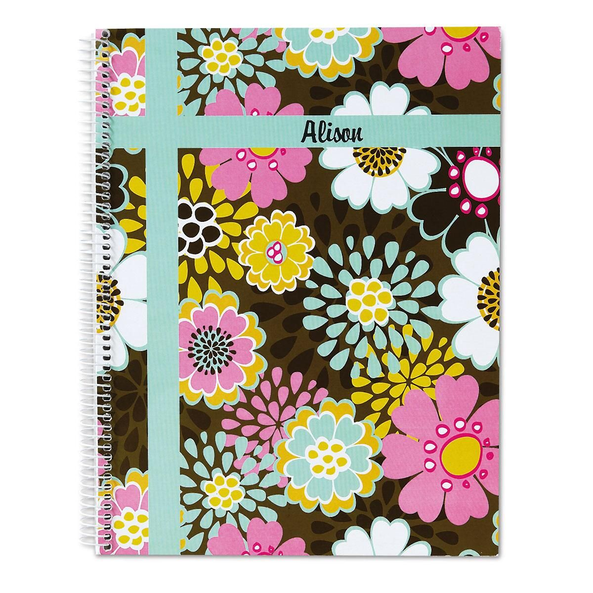 Mocha Flowers Large Notebook