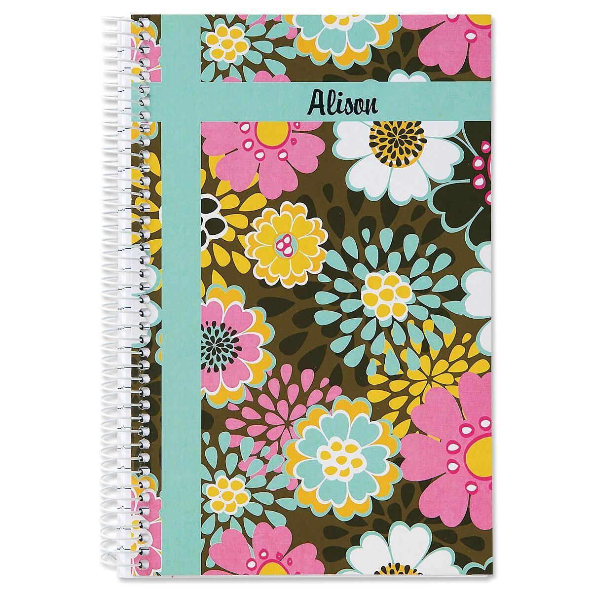 Mocha Flowers Small Notebook
