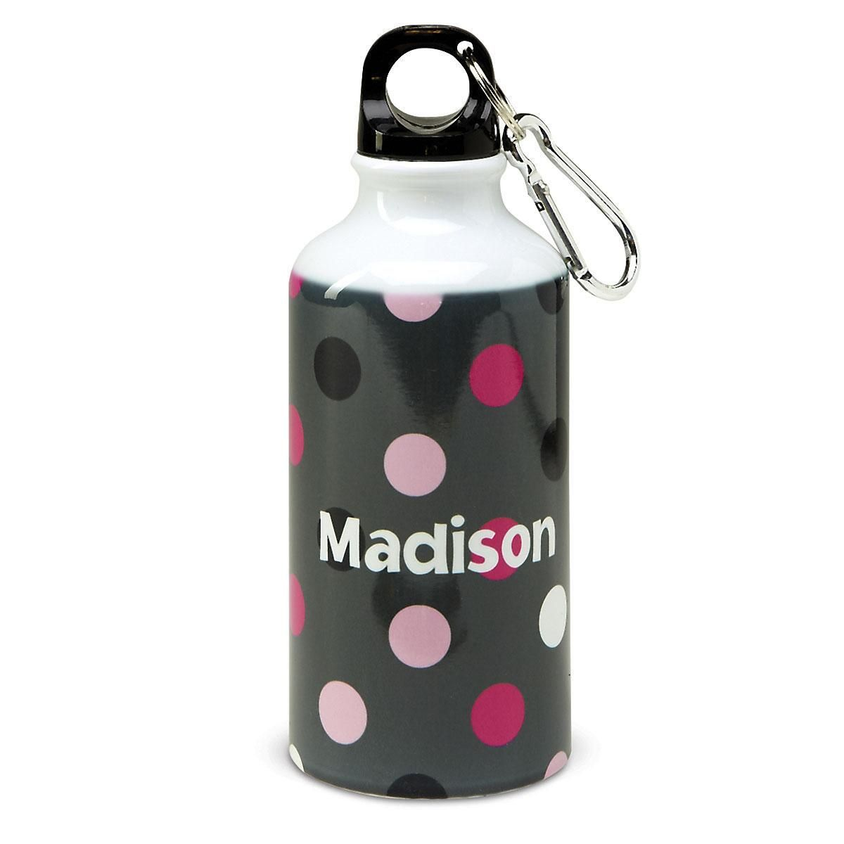 Gray/Pink Dots Water Bottle