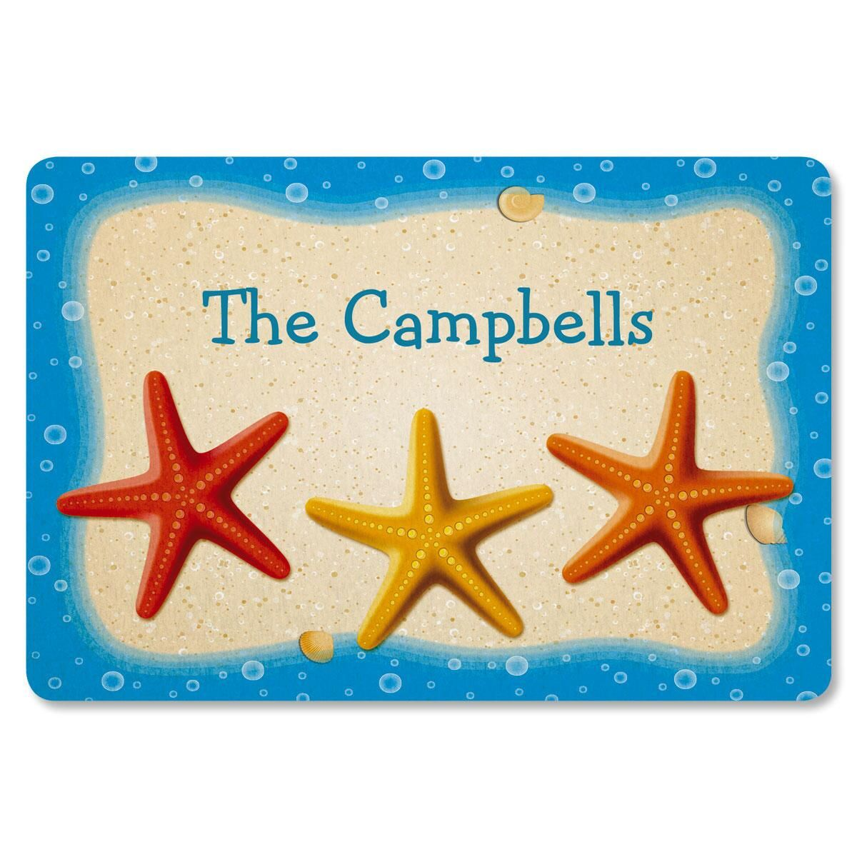 Starfish Trio Personalized Welcome Doormat