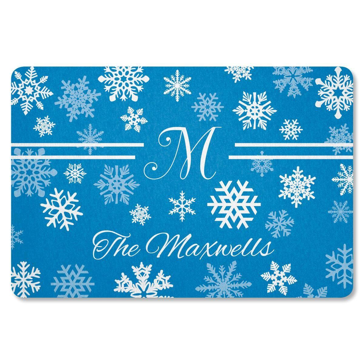 Elegant Snowflake Personalized Doormat