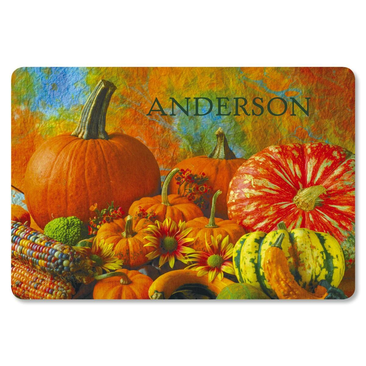 Beautiful Pumpkins Personalized Welcome Doormat