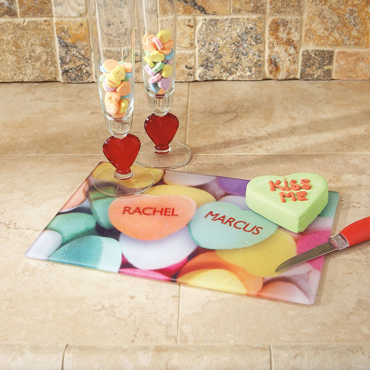Candy Heart Tempered Glass Cutting Board